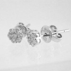 Exklusiva Diamant Örhängen Runda Fyllda med 0,24 carat Diamanter i Vitt Guld 18karat 1,20 gram