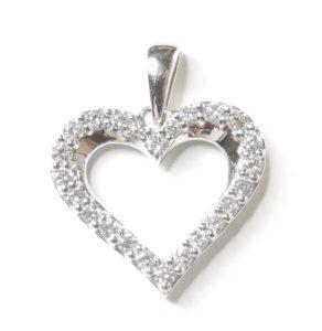 Exklusivt Diamant Hänge Hjärta 0,17 carat Diamanter i Vitt Guld 18karat 1,10 gram